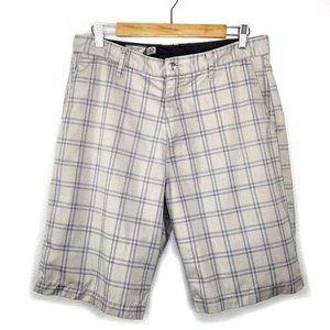 Volcom Corpo Class Plaid Mens Chino Shorts Khaki